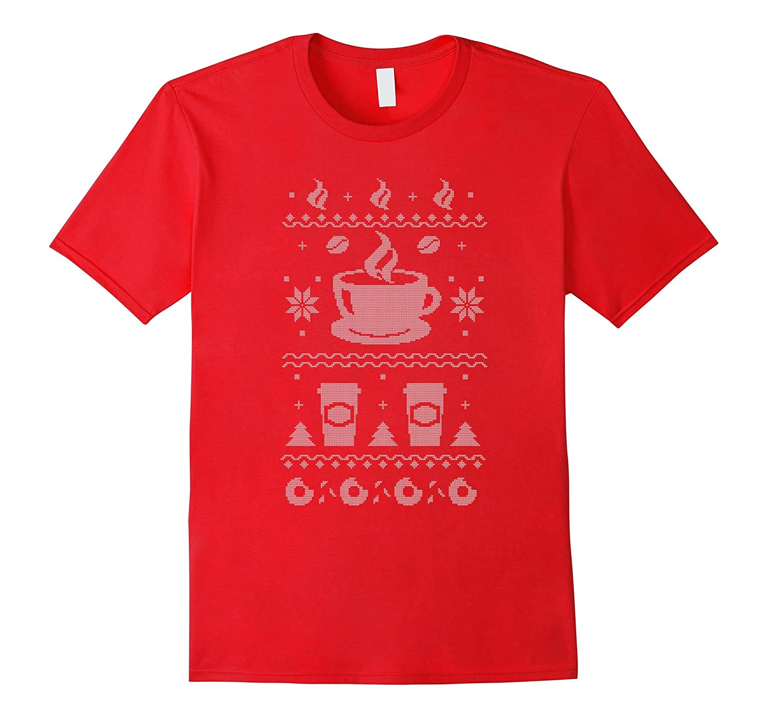 Coffee Themed Ugly Christmas Sweater Style T-Shirt-CL