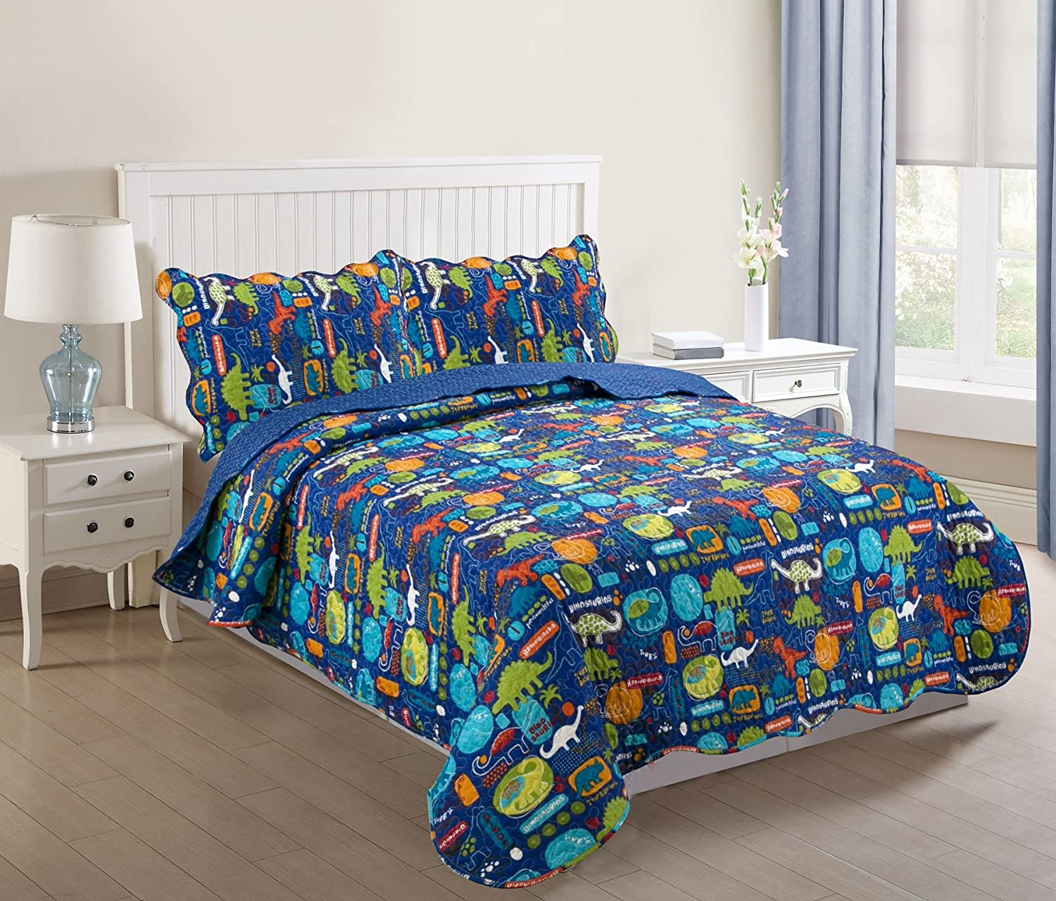 MarCielo 3 Piece Kids Bedspread Quilts Set Throw Blanket for Teens Boys Girls Bed Printed Bedding Coverlet