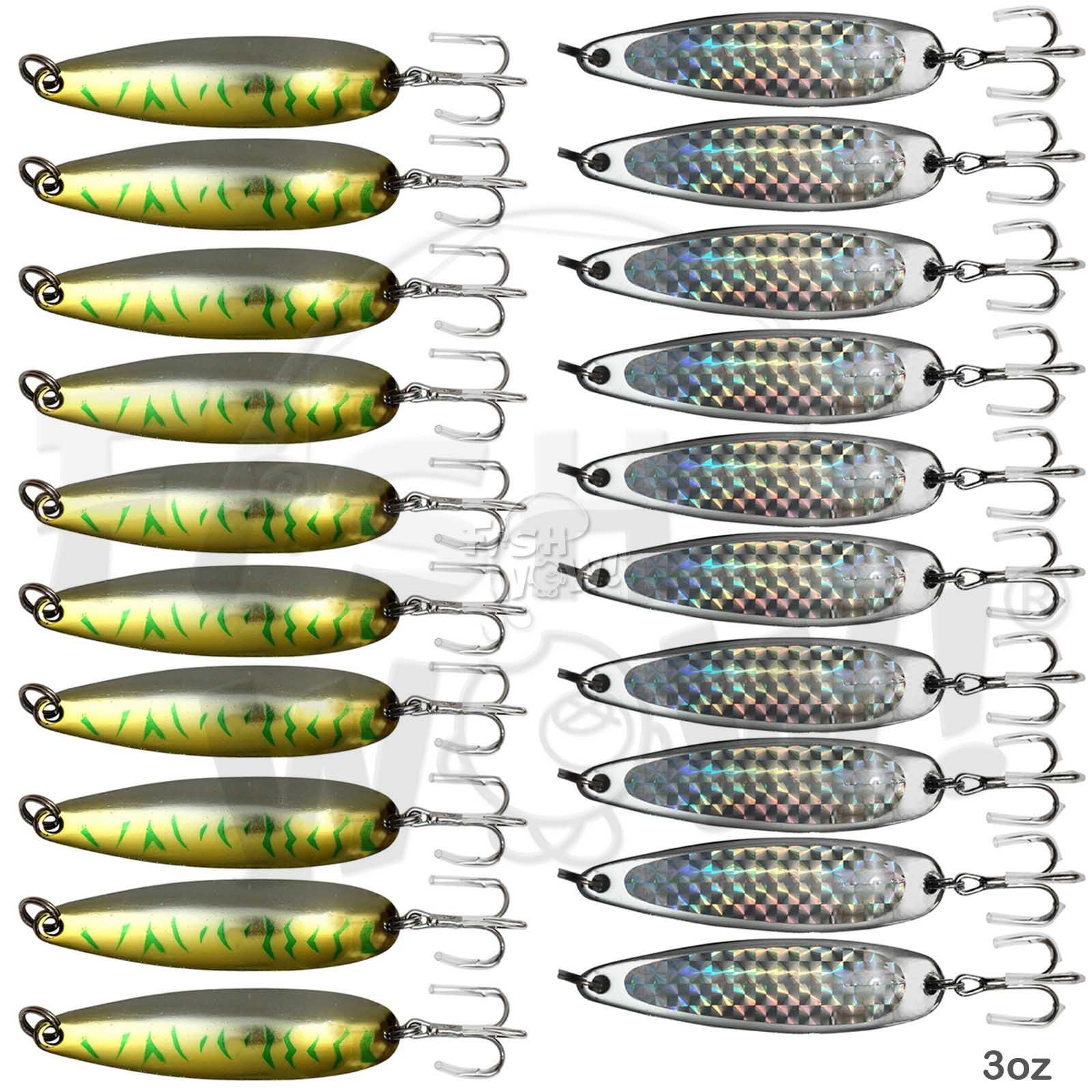 Fish WOW! 20pcs 3oz Fishing Spoon with a Treble Hook Fish Jigging Casting Lure Baits - 2 Colors