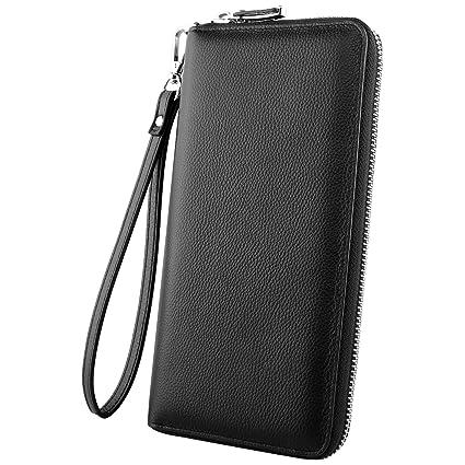 Luxspire RFID Carteras Largo Billeteras con Monederos para Hombre Mujer de Piel con Grande Capacidad, Diseño Bolsillo para Teléfono, Negro