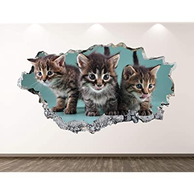 "West Mountain Baby Cats Wall Decal Art Decor 3D Smashed Kitten Sticker Poster Kids Room Mural Custom Gift BL255 (22"" W x 14"" H): Home & Kitchen"