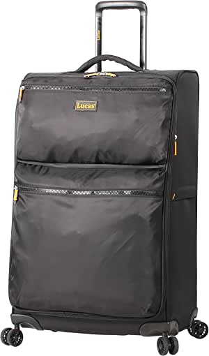 Lucas Designer Luggage Collection - Expandable 28 Inch Softside Bag - Durable Large Ultra Lightweight Checked Suitcase with 8-Rolling Spinner Wheels (Black)