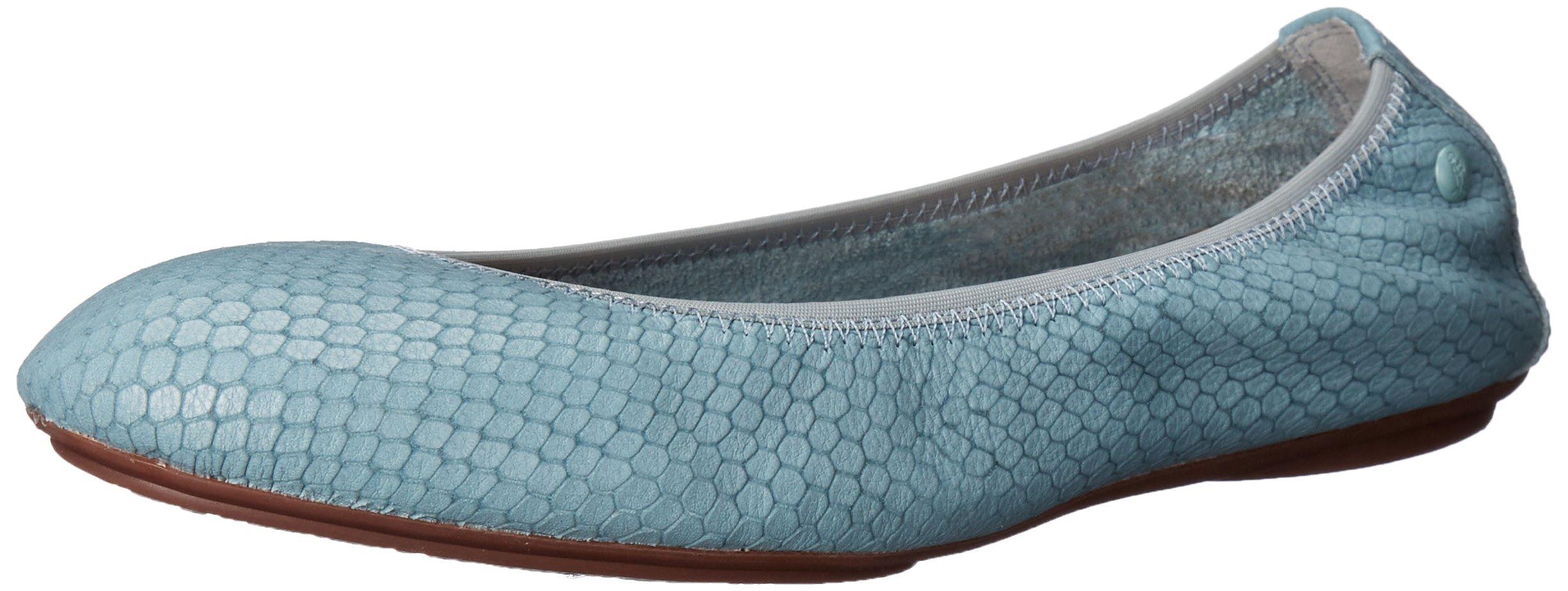 Hush Puppies Women's Chaste Ballet Slip-On Loafer, Slate Blue Embossed Leather, 5.5 E US