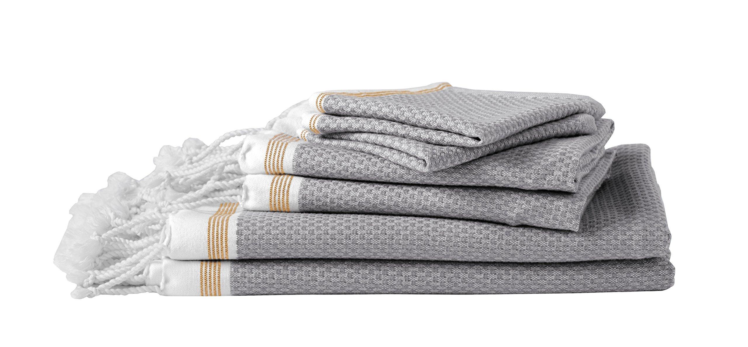 Coyuchi Mediterranean 6pc Towel Set, BT, GT, WC, Deep Pewter w/Tangerine Stripe