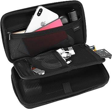ProCase Estuche Duro de Viaje para Gadget Electrónicos, Bolsa Organizador para Accesorios Cargador Cable Memoria USB Auriculares Adaptador Batería Externa, Funda Rígida con Bolsillo de Malla –Negro: Amazon.es: Electrónica