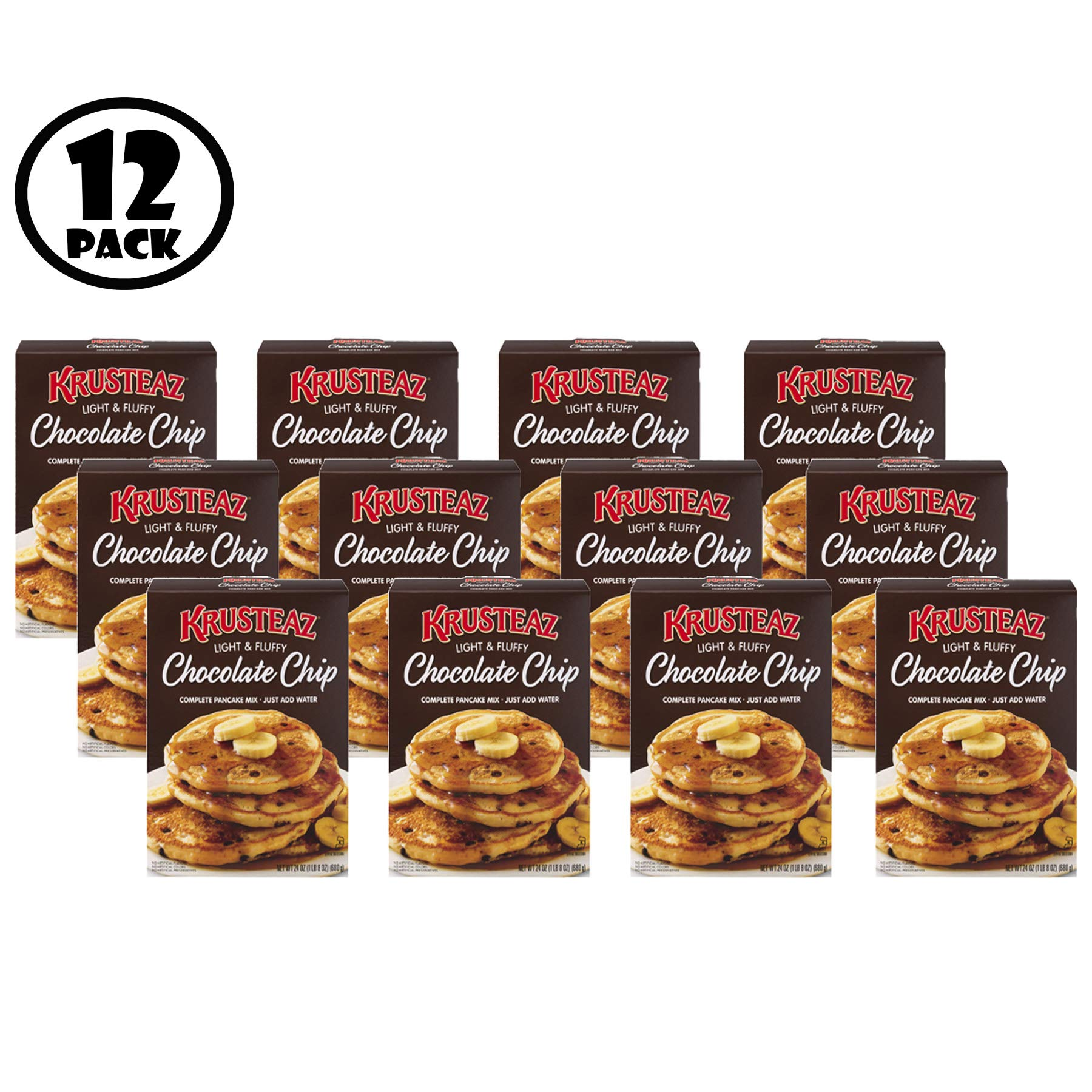 (Pack of 12) Krusteaz Chocolate Chip Complete Pancake Mix 24 oz. Box