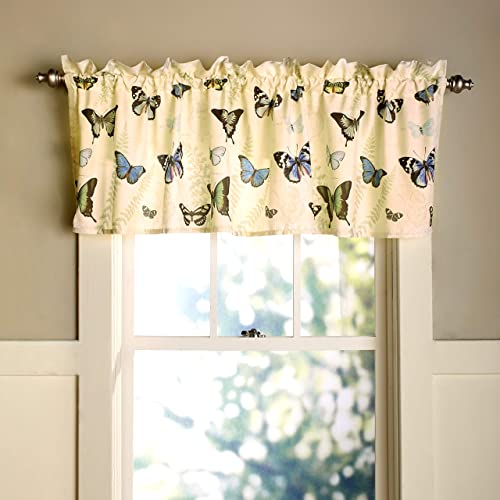 The Lakeside Collection Butterfly Window Valance – Decorative Bathroom Treatment and Accent