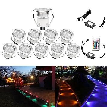 QACA 10er LED Einbauleuchten Bodeneinbaustrahler RGB Deckenspot  Einbaustrahler Deckenleuchte Wasserdicht IP67 Einbaulampe 0,1W~