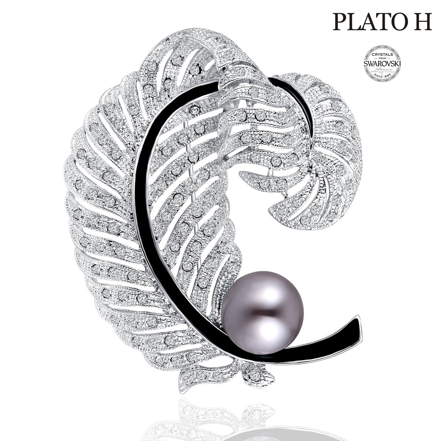 June Birthstone Pearl and Crystal Woman Jewelry Gifts PLATO H Love Cultured Pearl & Feather Brooch with Swarovski Crystal