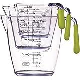 Kitchen Craft CWMJUGSETGRN - Jarras medidoras (3 unidades), color verde