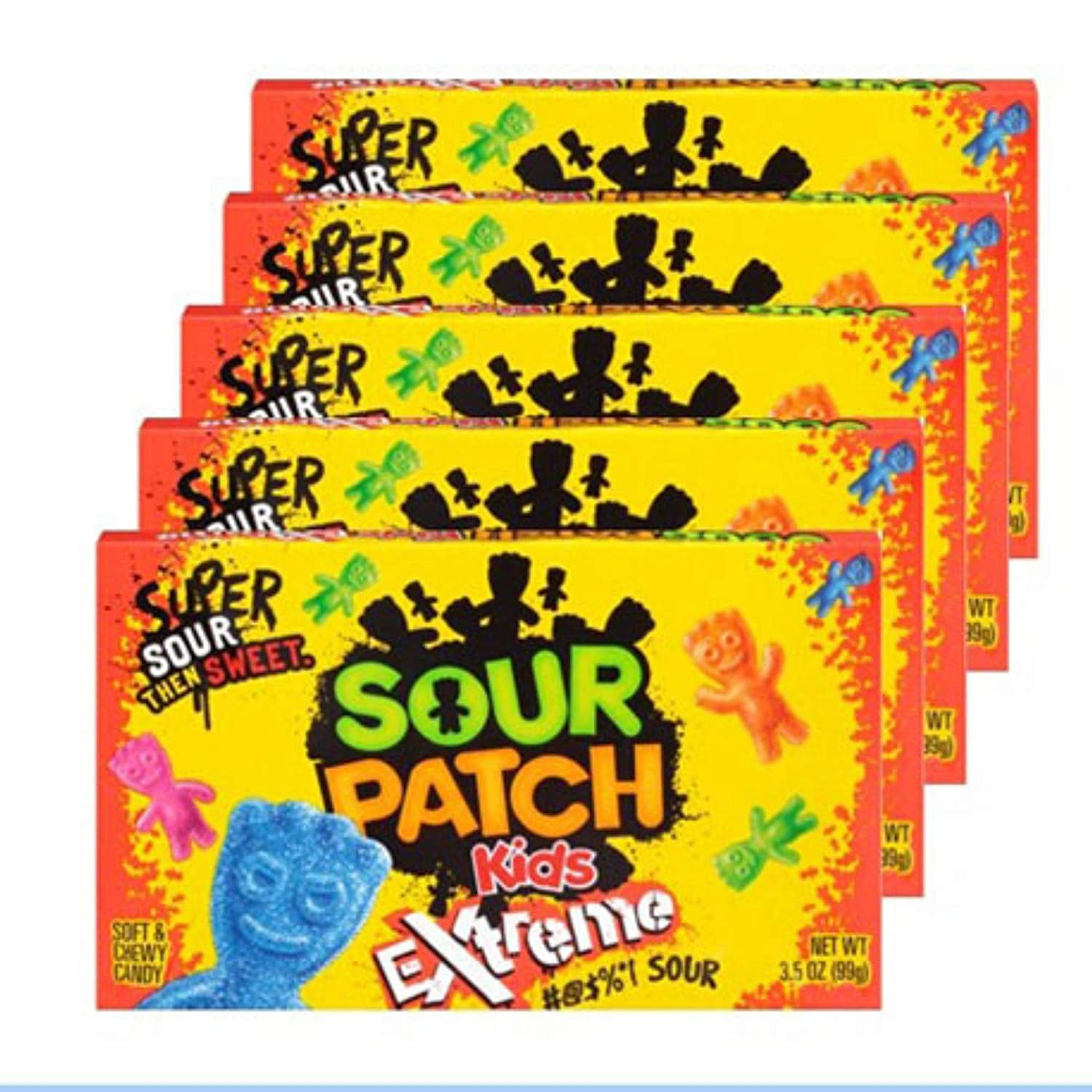 Amazon Com Super Sour Then Sweet Sour Patch Kids Extreme Movie Theater Candy Sour Gummy Candy Sour Candy Box 5 Pack 3 5oz By Coolgadgetgift Grocery Gourmet Food