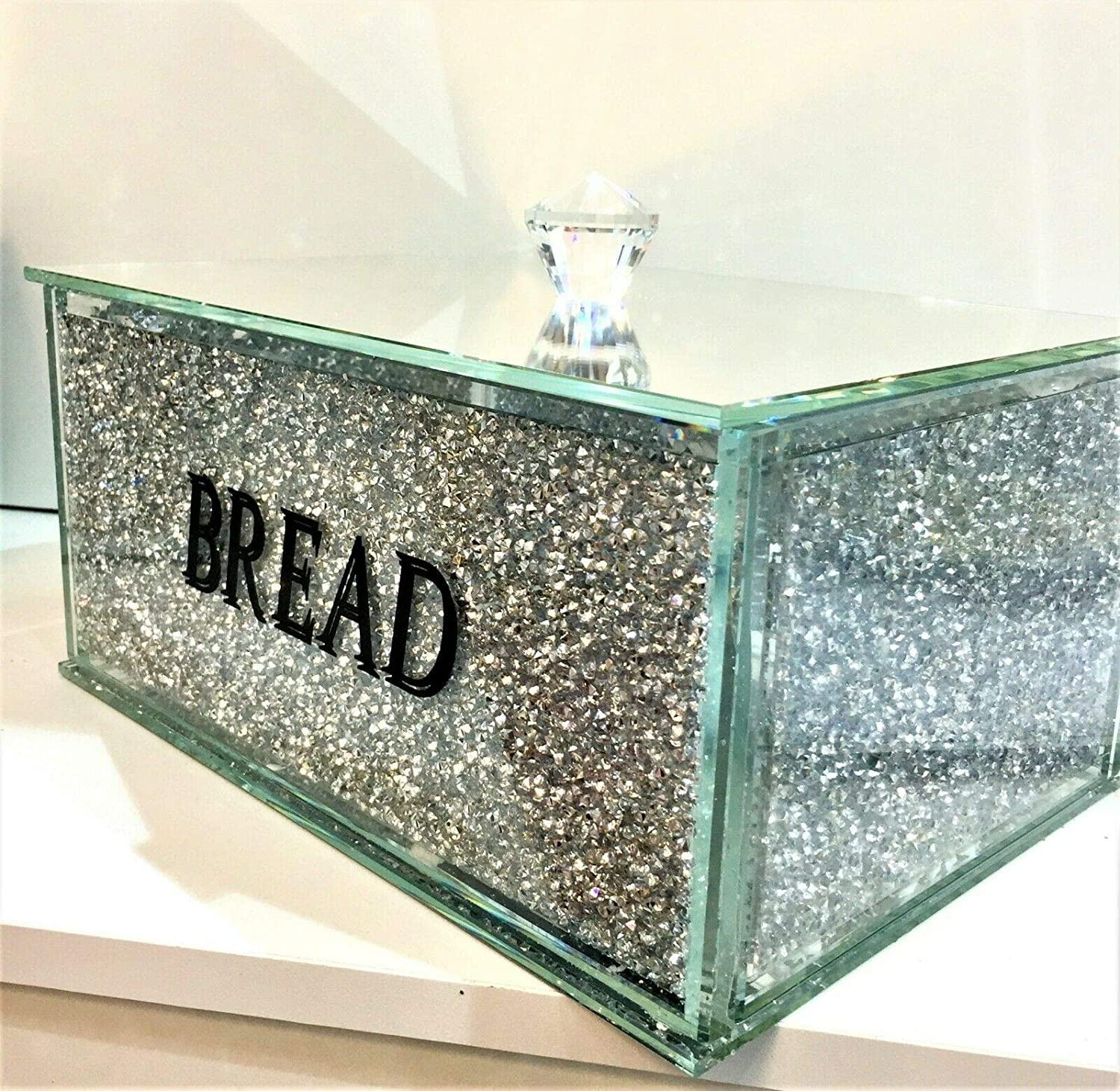 Kitchen Bling Gift Silver Crushed Diamond Crystal Mirrored Bread Bin Container