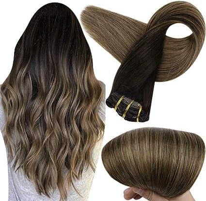 Shine completa 10 piezas 120gramm baño de tinte balayage Mejor calidad clip en extensiones de cabello humano hecho by pinza de pelo real en ...