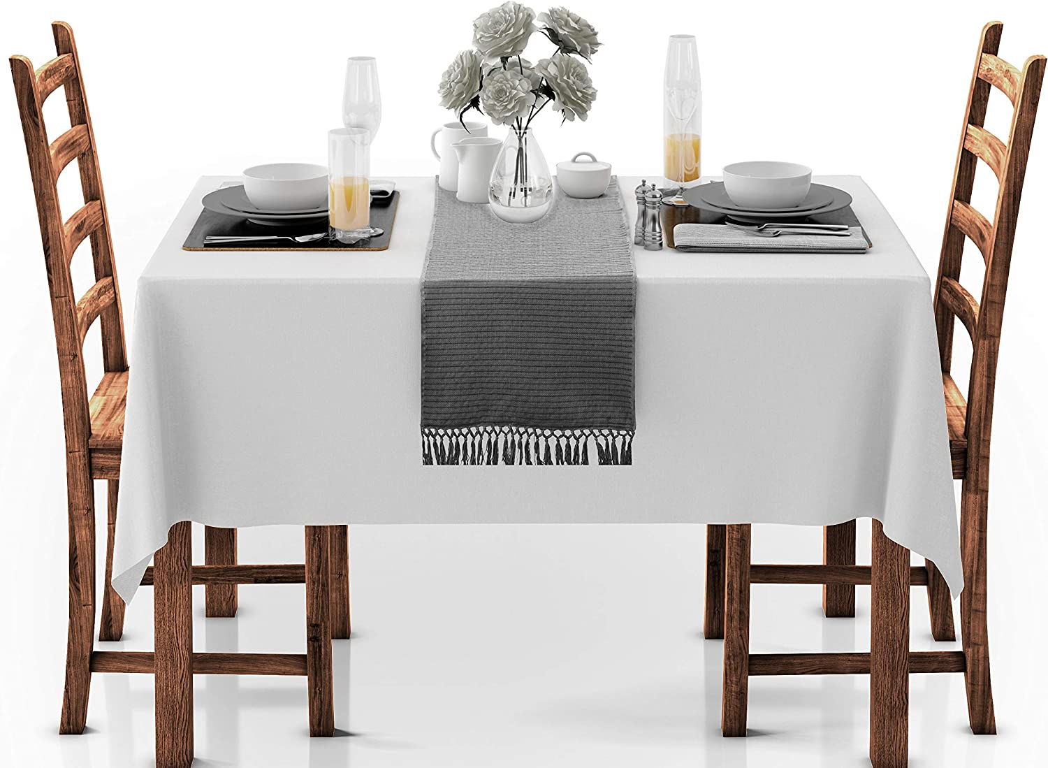 Cotton Clinic Set of 2 Table Runners Farmhouse 90 Inch Textured Woven 14x90 Cotton Wedding Table Runners Fringes Rustic Bridal Shower Decor Dining Table Runners Charcoal Gray