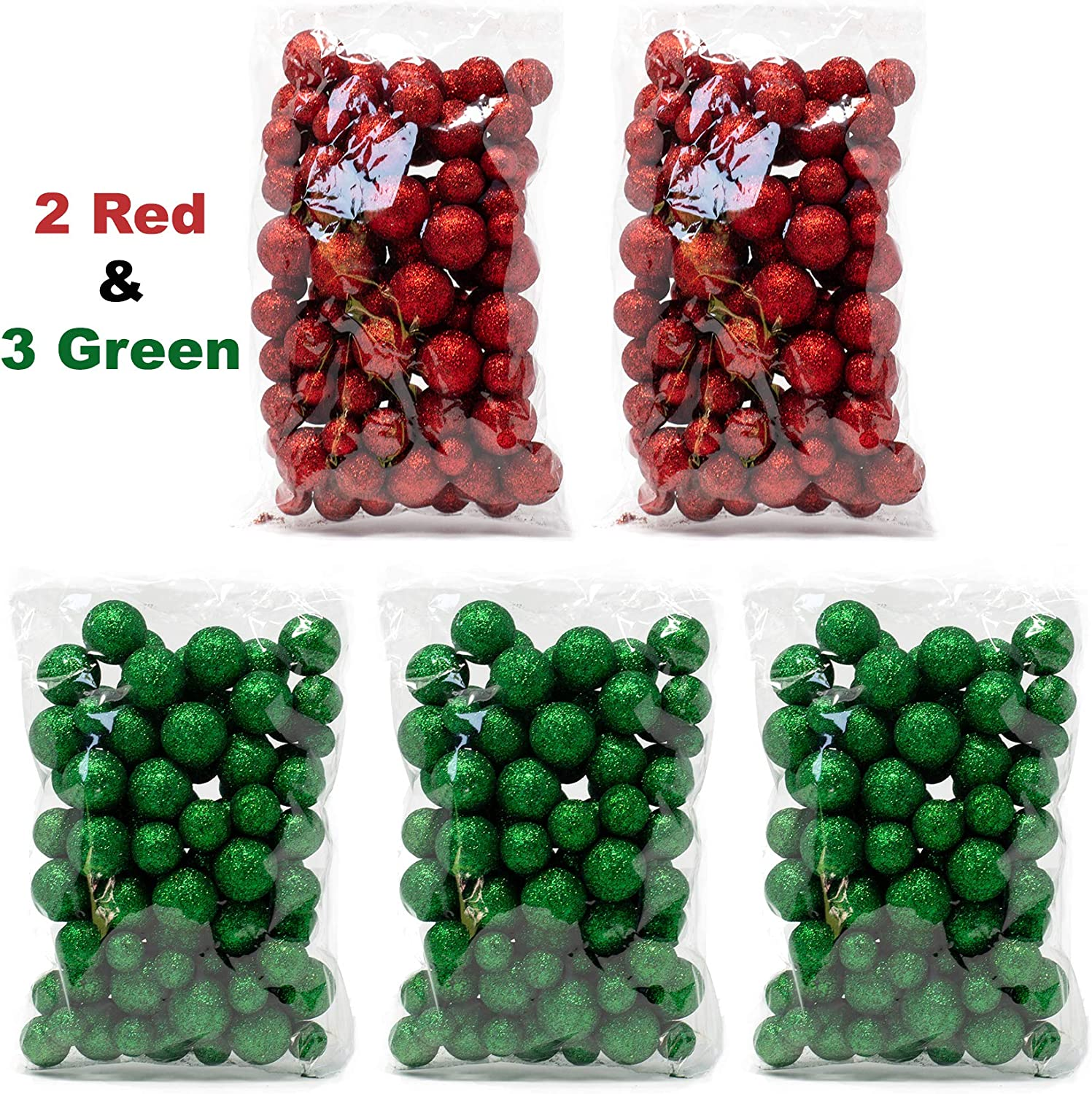 5 Bags Set of Red and Green Glittered Vase Filler Decorative Balls Glittery Colored Snow Balls BANBERRY DESIGNS Multi Colored Foam Balls Party Decor Table Scatter Decorations
