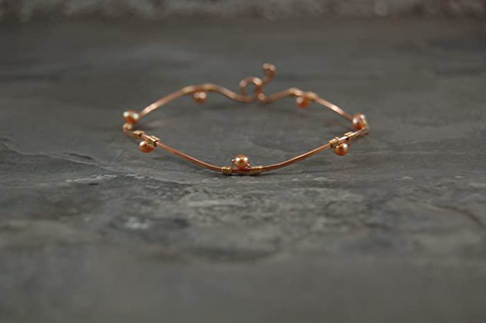 Amazon tundra flower simply hammered collection wavy bangle tundra flower simply hammered collection wavy bangle rose gold yellow gold pearl mightylinksfo
