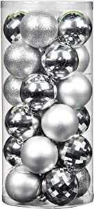 "Jusdreen 24pcs Christmas Balls Ornaments for Xmas Tree Shatterproof Christmas Tree Hanging Balls Decoration for Holiday Party Baubles Set with Hang Rope 2.36""(Silver 60mm)"