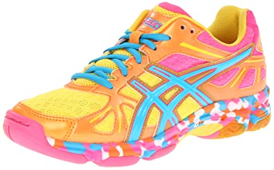 ASICS Womens GEL-Flashpoint Volleyball Shoe,Orange Flame/Neon Blue/Pink,