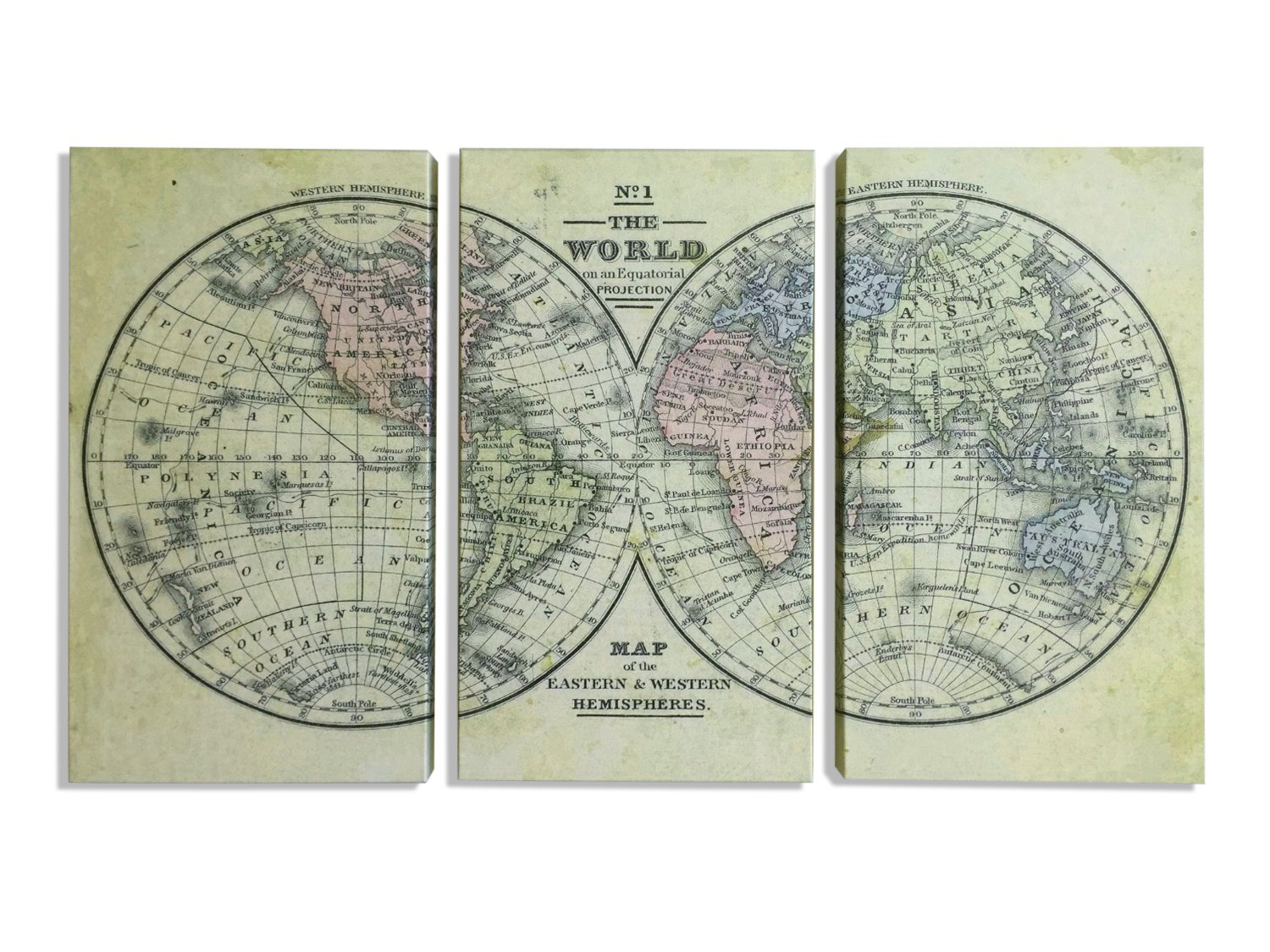 Amazon world map triptych 3 panel 1800s world hemispheres map amazon world map triptych 3 panel 1800s world hemispheres map 3 prints you frame or gallery wrapped canvas set ready to hang posters prints gumiabroncs Image collections