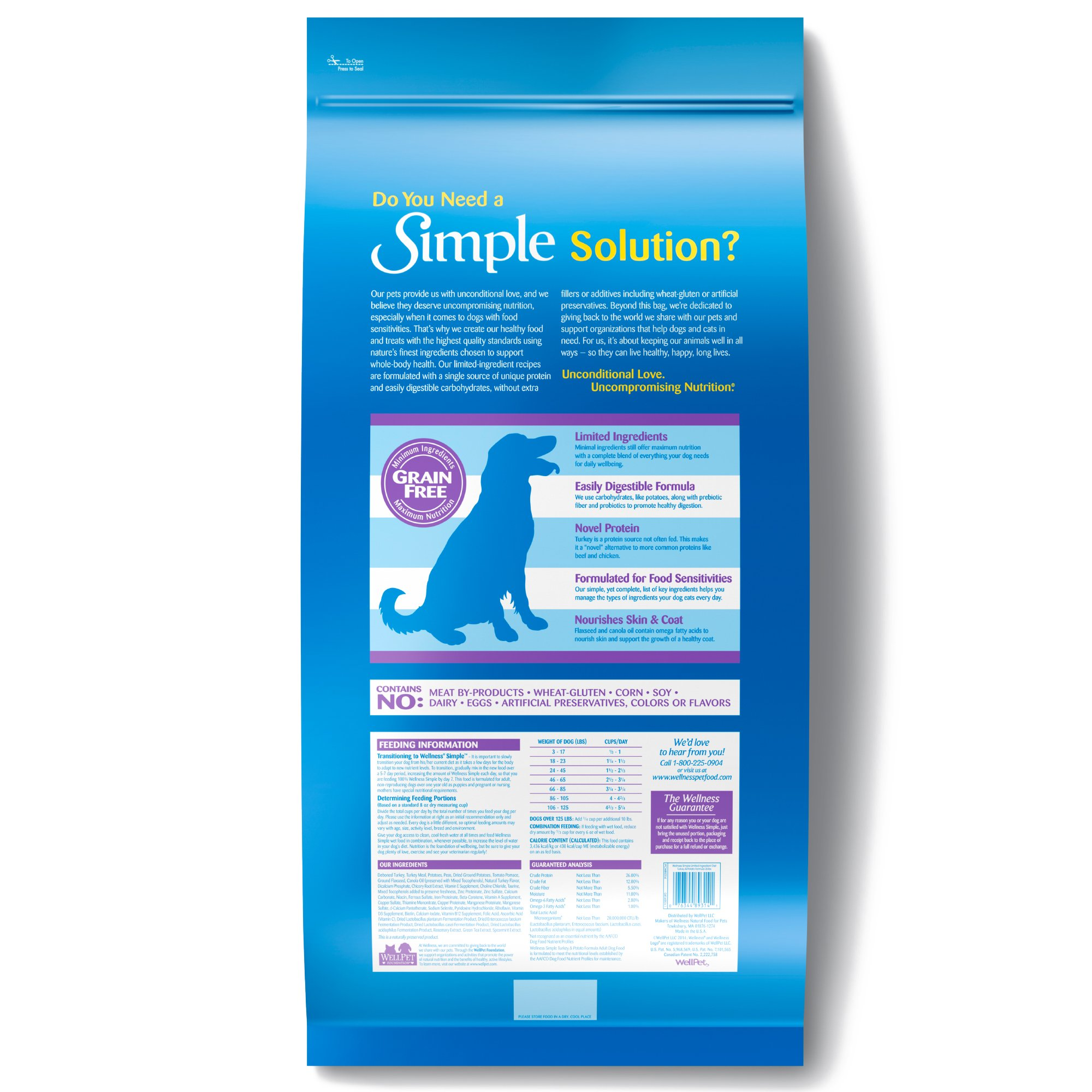 Wellness Simple Natural Grain Free Dry Limited Ingredient Dog Food, Turkey & Potato, 26-Pound Bag by Wellness Natural Pet Food (Image #2)