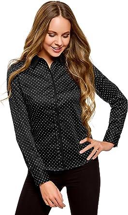 oodji Collection Mujer Camisa Estampada Entallada