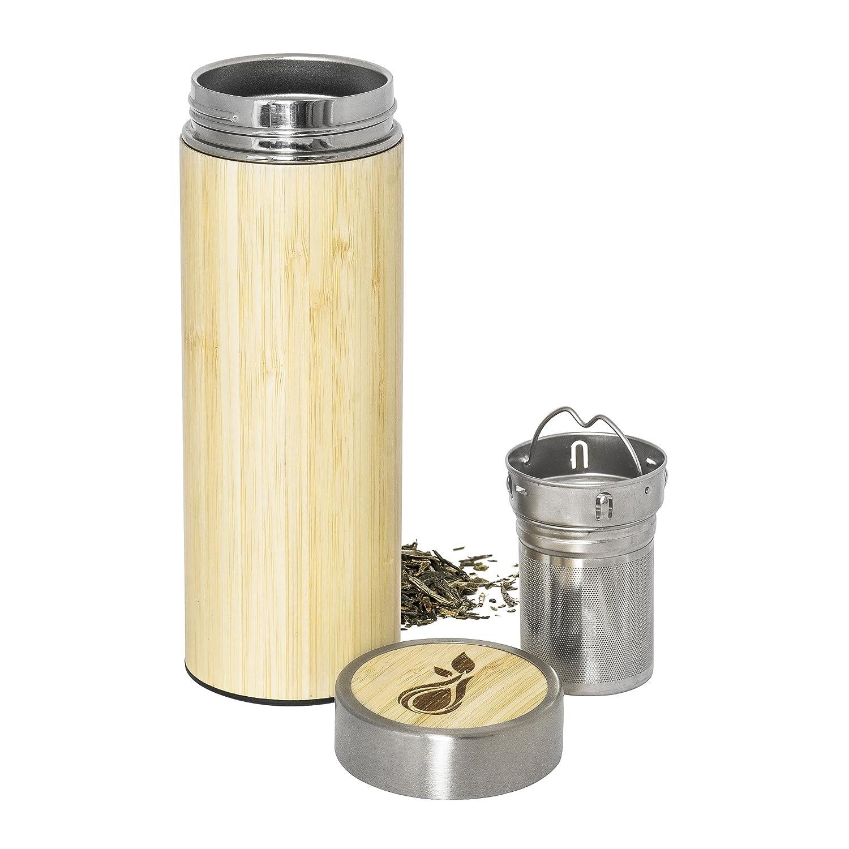 Vuoto Thermo Thermo Tea Maker in acciaio inox 330 ml H2O-X | Tè a doppia parete in acciaio inox con filtro per tè Thermo Cup tazza incl. vassoio per tè | Thermo Bottinking Bottinking Bottle Tea Maker Drinking Cup Bamboo Isolante Bottone da viaggio Mug Acqu