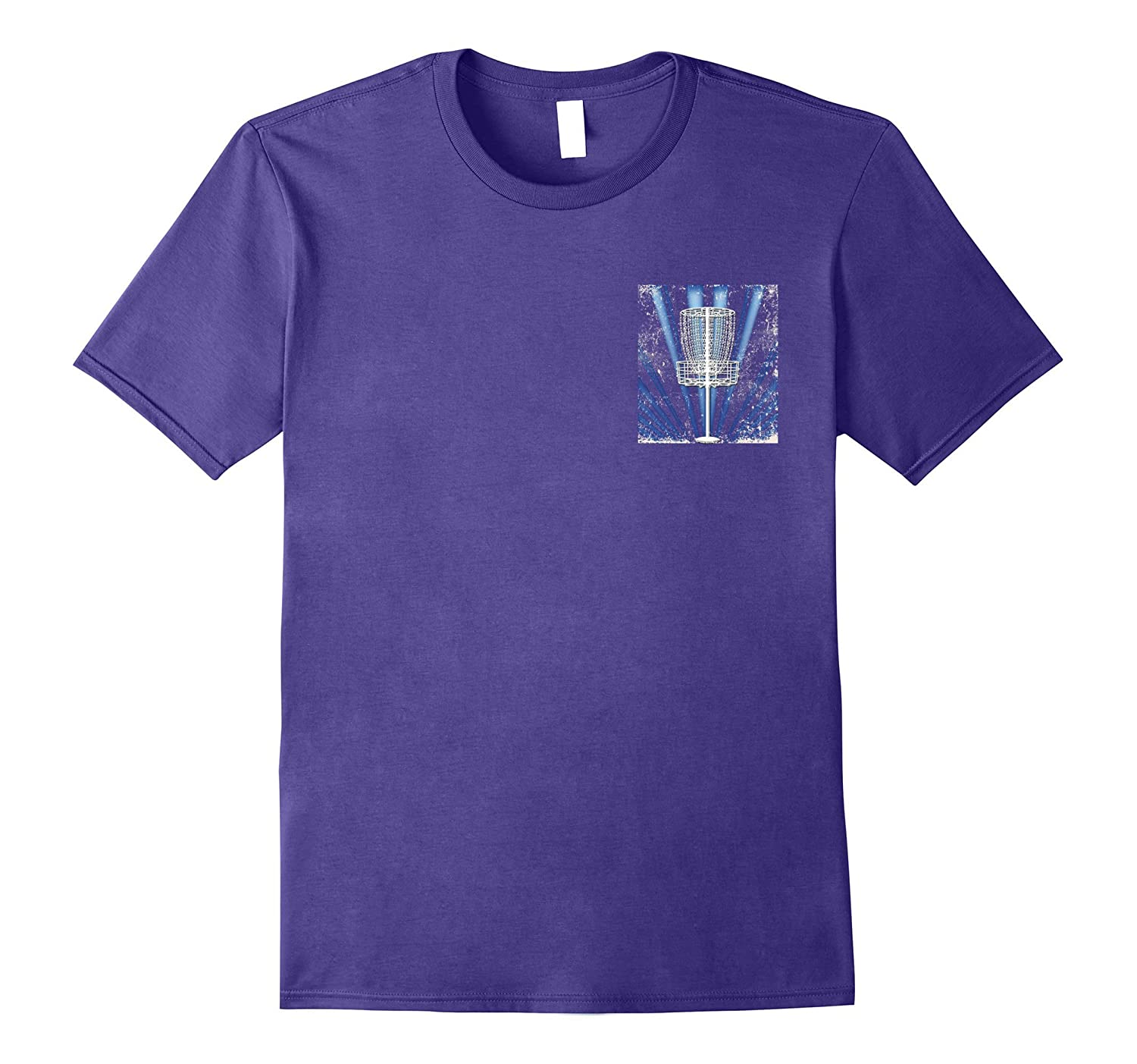 Blue Sunburst Disc Golf Basket Pocket Logo T-Shirt
