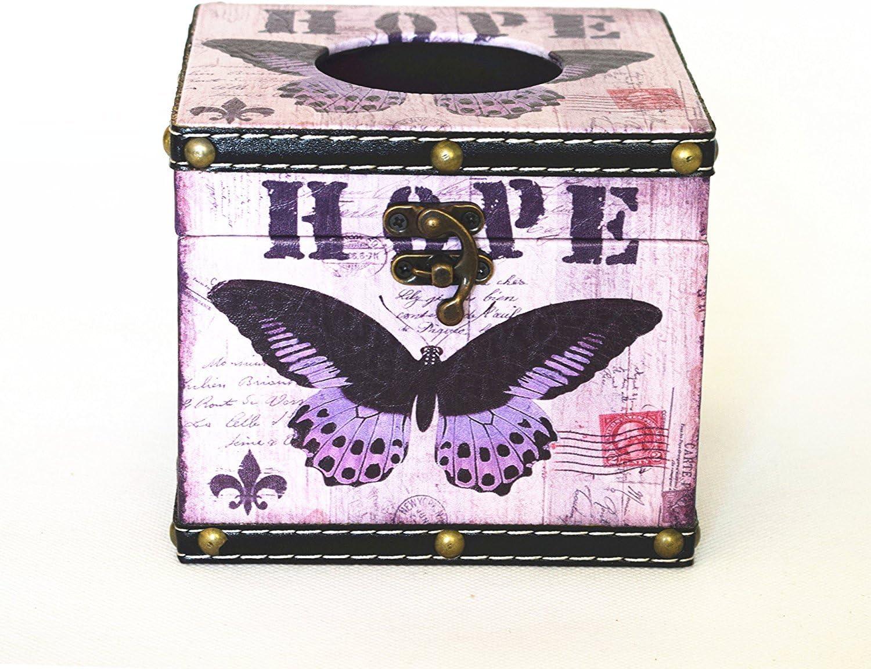 Vintage caja de pañuelos funda soporte cuadrado – púrpura Mariposa ...