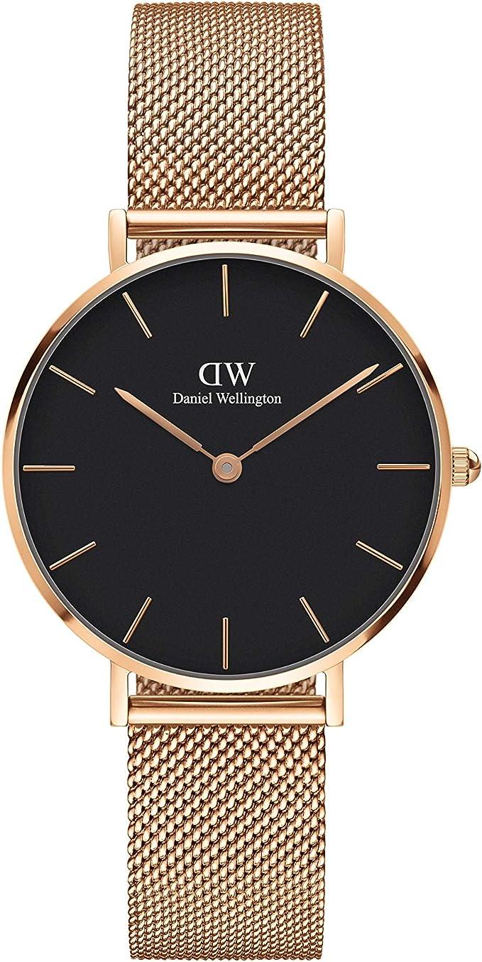 Daniel Wellington Petite Melrose Reloj de oro rosa/oro rosa, 28 mm, malla para mujer
