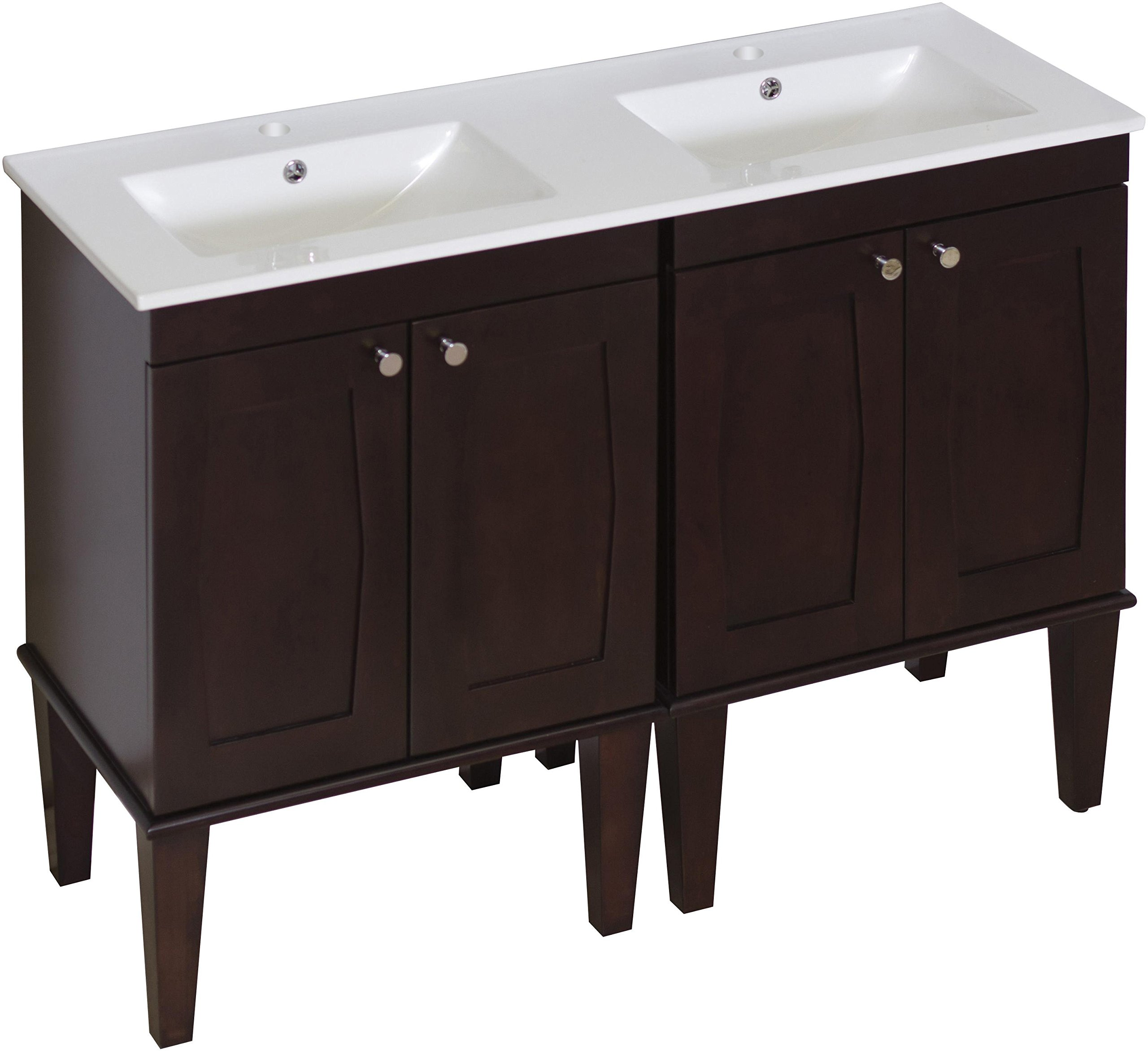 American Imaginations 750   48-Inch W X 18-Inch D Solid Wood Vanity with Soft-Close Doors and Double Sink White Ceramic Top for Single Hole Faucet Installation