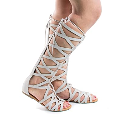 ec753c611311 Knee High Open Toe Gladiator Cut Out Lace Up Flat Trendy Sandals (5.5 M US