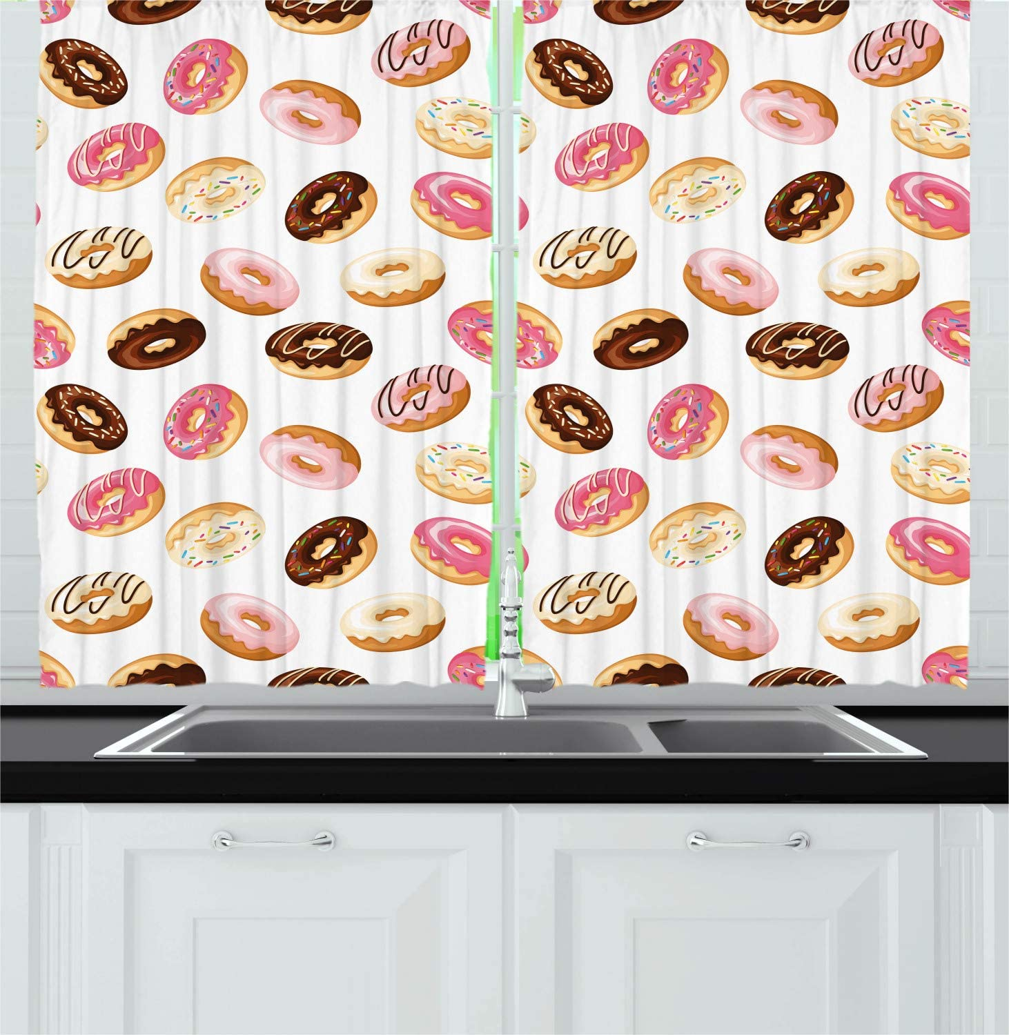 """Ambesonne Food Kitchen Curtains, American Traditional Classic Breakfast Fast Food Dessert Tasty Donuts Art Print, Window Drapes 2 Panel Set for Kitchen Cafe Decor, 55"""" X 39"""", Coral Cream"""