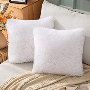 EMEMA Faux Fur Pillow Covers Luxury Fluffy Throw Pillow case Soft Decorative Square Cute Plush Cushion Covers Mongolian Merino Home for Sofa Livingroom Bedroom 18x18 Inch 45x45 cm White Pack of 2