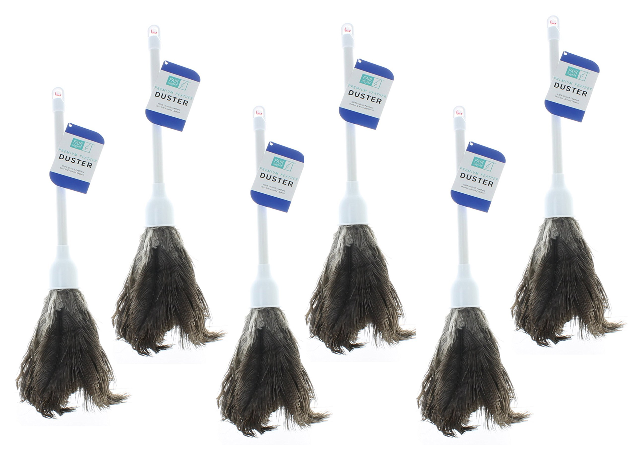 Lot of 6 Ostrich Feather Dusters 14'' Anti-Static Home Dust Dirt Cleaning Tool