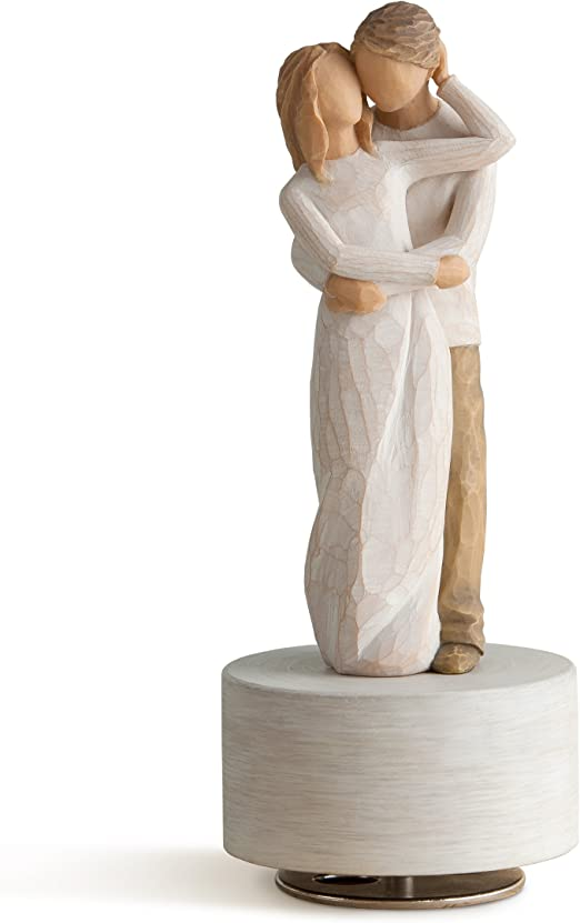 sculpted hand-painted musical figure Willow Tree Surrounded by Love Musical