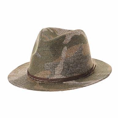 6db78b940 WITHMOONS Wool Felt Fedora Panama Hat Camouflage Pattern Wide Brim ...
