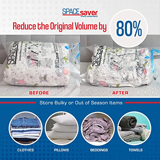 Blanket CLEVHOM Premium Vacuum Storage Bags Variety Pack Clothes Double-Zip Seal and Triple Seal Turbo-Valve for Max Space Saving No Pumps Need 8 Count for Bedding 80/% More Storage