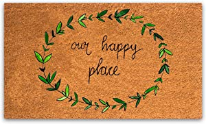PLUS Haven Pure Coco Coir Doormat with Heavy-Duty PVC Backing - Our Happy Place - Size: 17-Inches x 30-Inches - Pile Height: 0.6-Inches - Perfect Color/Sizing for Outdoor/Indoor uses.