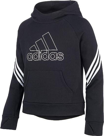 adidas Mädchen Fleece 3 Streifen Hoodie (SchwarzWeiß, L
