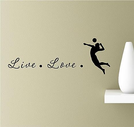 Live love volleyball spike set bump toss Vinyl Wall Art Inspirational  Quotes Decal Sticker