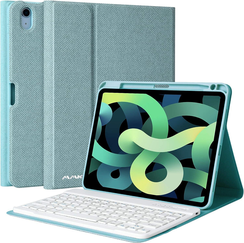AMZCASE Funda con Teclado para iPad 10,9 2020, Teclado Bluetooth Inalámbrico Desmontable para iPad 10,9 Pulgadas, Funda con Soporte para Bolígrafo (Azul)