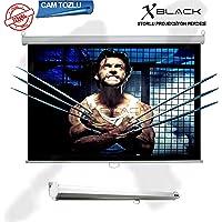 Xblack XGS-240 240x200cm Cam Tozlu (Glass Beads) Storlu Kilitleme Mekanizmalı Projeksiyon perdesi, Beyaz