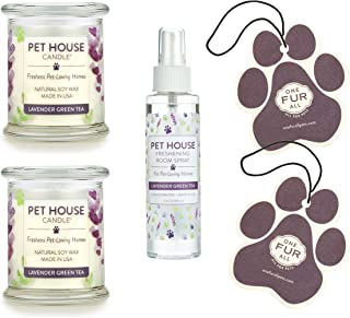 product image for One Fur All 100% Natural Soy Wax Candle, Air Freshener, and Room Spray 20 Fragrances - Pet Odor Eliminator, Up to 60 Hours Burn Time, Non-Toxic, Scented Candles (Value Pack, Lavender Green Tea)