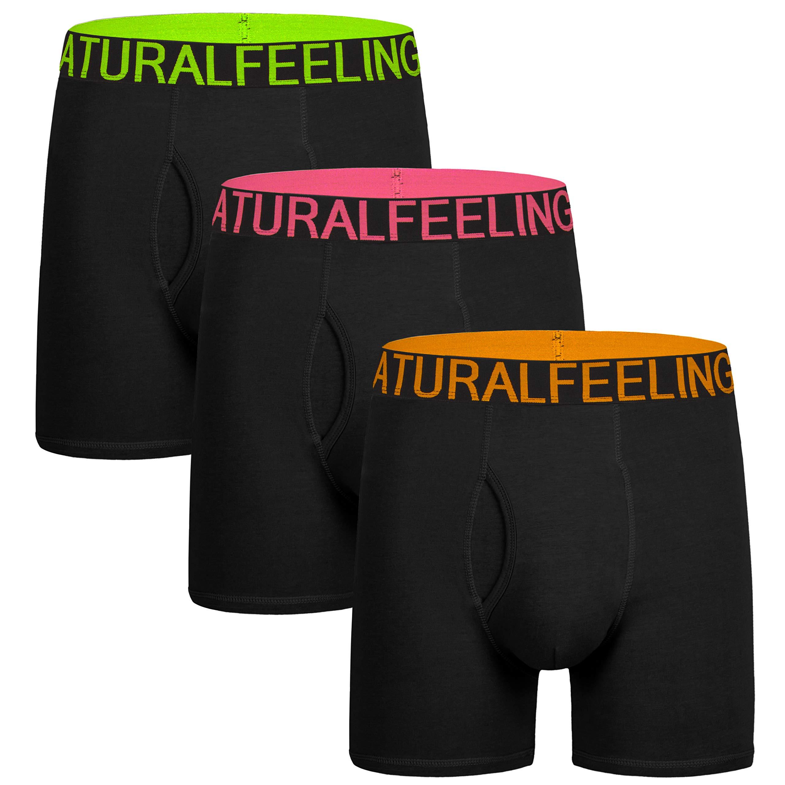 5Mayi Men's Underwear Boxer Briefs Cotton Black Mens Boxer Briefs Underwear Men Pack of 3 Wide Waistband M