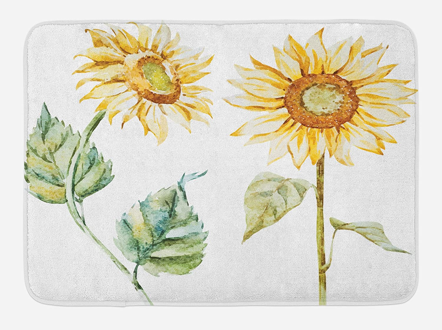 """Ambesonne Watercolor Bath Mat, Alluring Sunflowers Summer Inspired Design Agriculture, Plush Bathroom Decor Mat with Non Slip Backing, 29.5"""" X 17.5"""", Yellow Green"""
