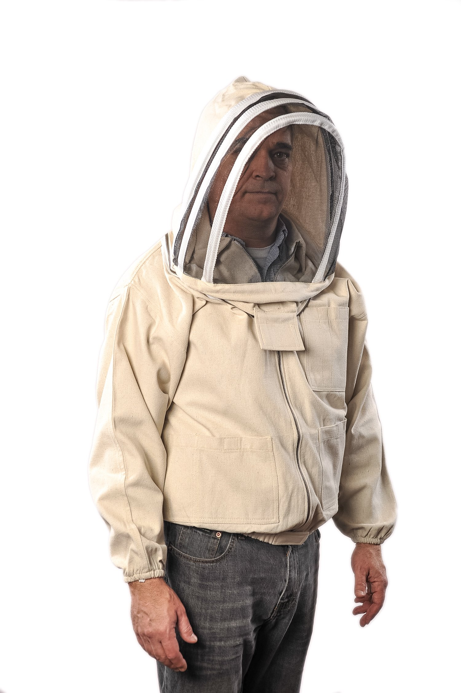 FOREST BEEKEEPING SUPPLY YKK Brass Zippers Cotton Fencing Hood Jacket for Beekeeper, Large