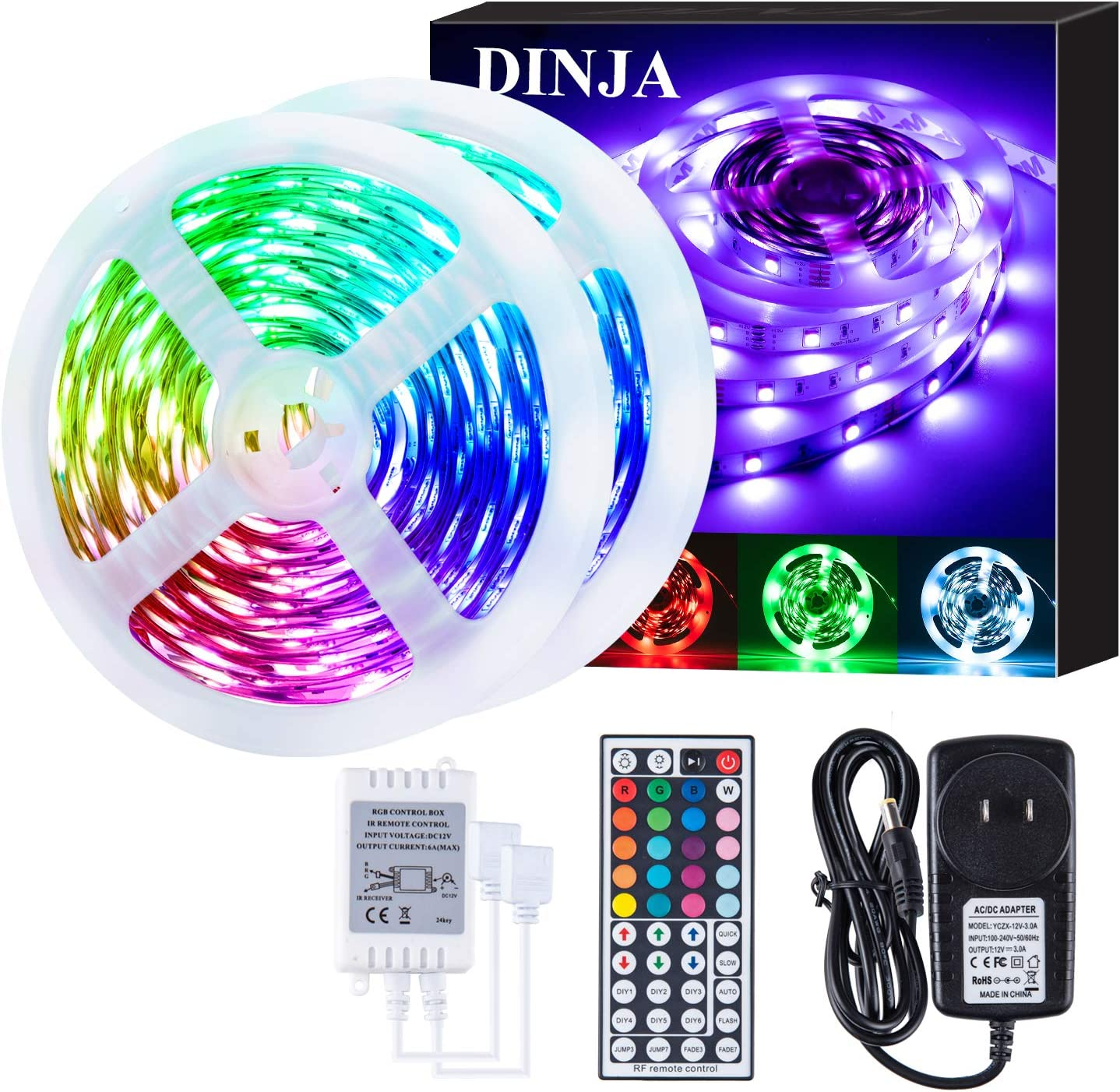 Led RGB Strip Rope Lights Flexible Color Changing 32.8ft 10M with 44key RF Remote Control 12V 5050 300 LEDs with led Strip Light for Bedroom Home Bedroom Cabinet TV Decoration,Non-Waterproof.