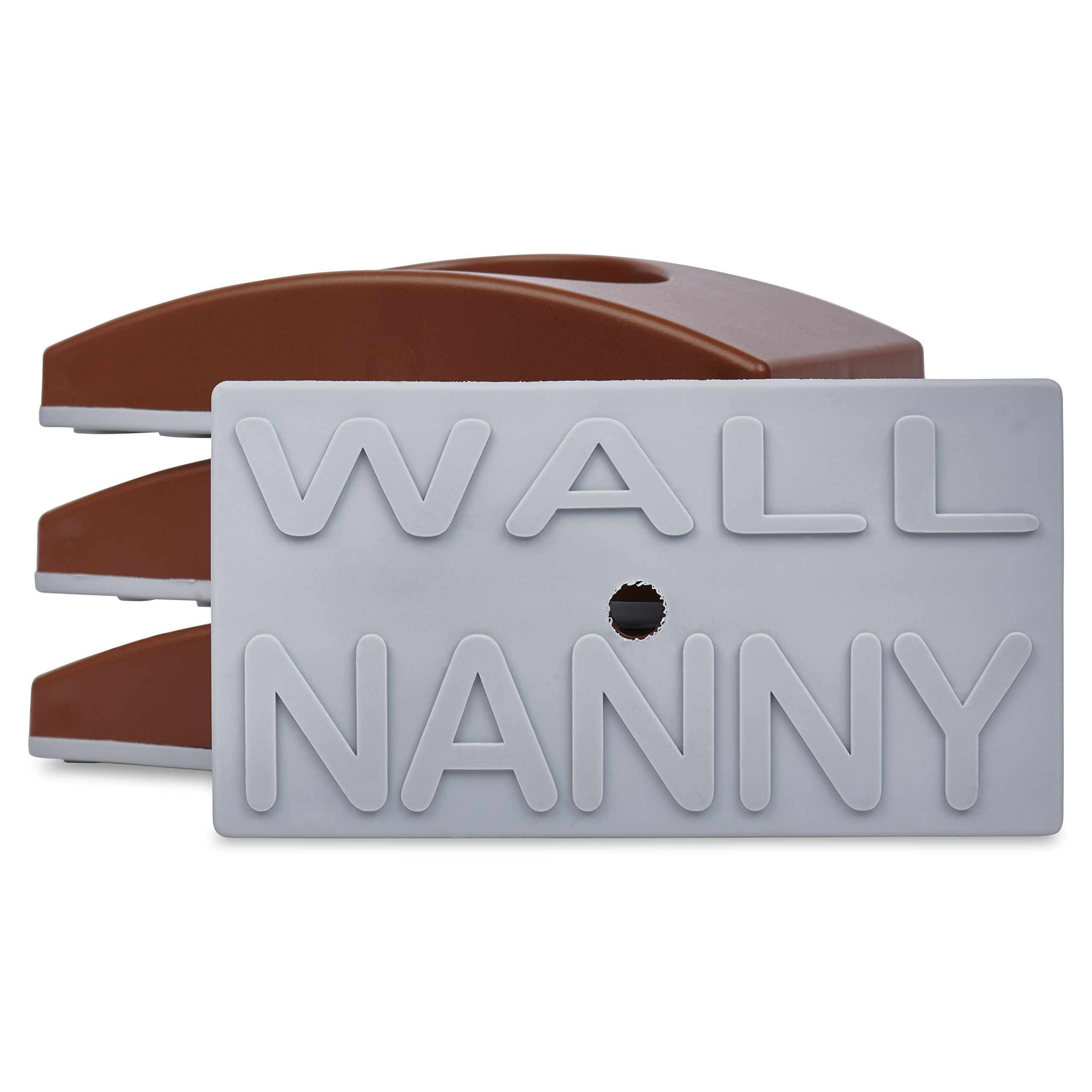Wall Nanny (4 Pack) Baby Gate Wall Protector - Dark Trim Color - No Safety Hazard on Bottom Spindles - Small Saver Pad Saves Trim & Paint - Best Dog Pet Child Walk Thru Pressure Gates Guard (Brown)