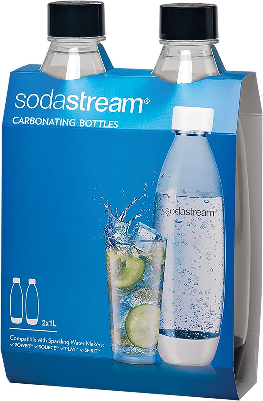 SodaStream 1741220010 Black 1L Slim Carbonating Bottles Twin Pack, 1-Liter
