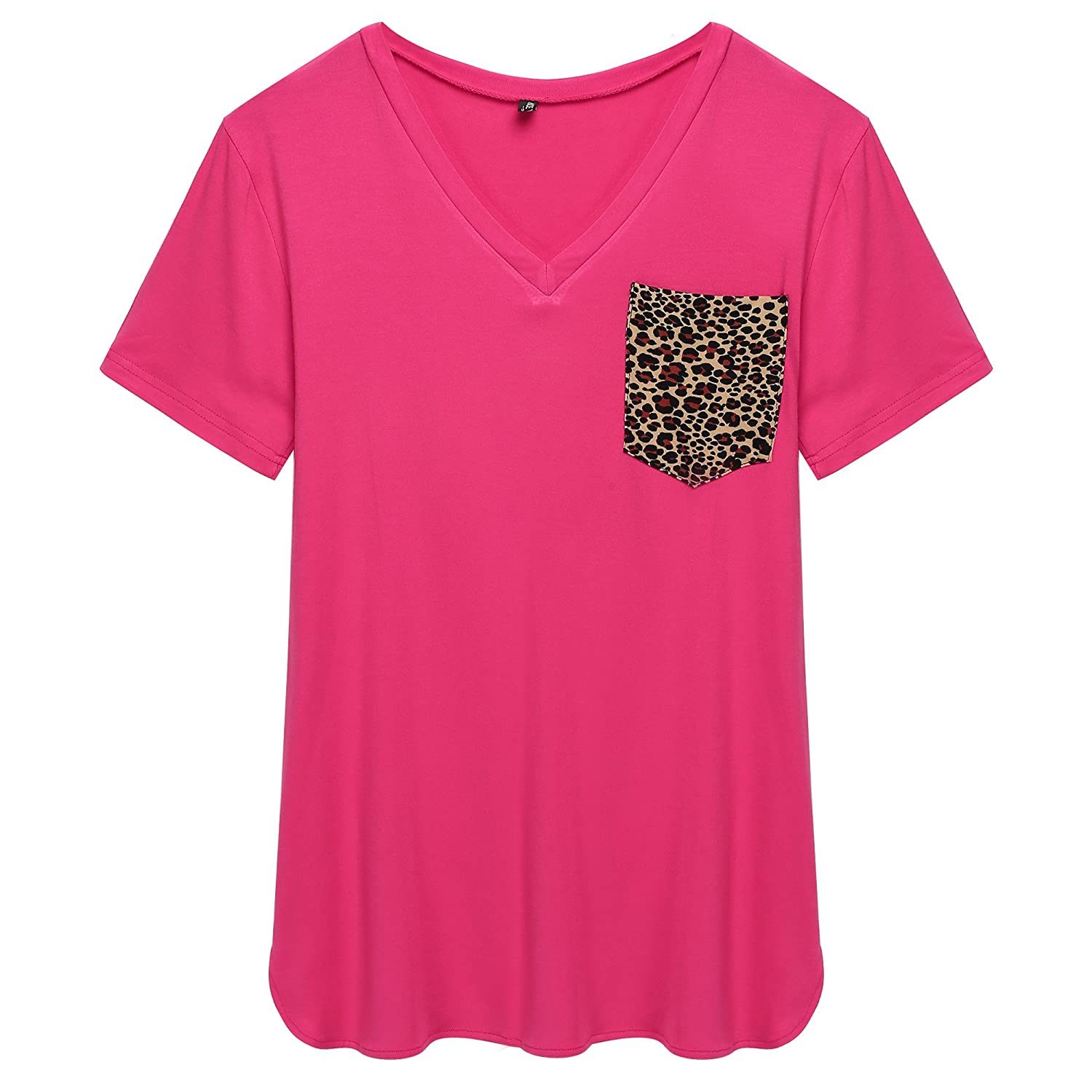 ACEVOG Women's Short Sleeve Leopard Printing V-Neck Tee Tank Top Shirt